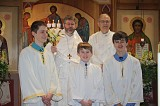 Fr. John Hopko and Protodeacon Paul Nimchek with the Altar Servers after Paschal Vespers