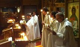 Fr. John reads the Sermon of St. John Chrysostom on Pascha Night
