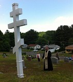 Fr. John presides at the Memorial Service in the Parish Cemetery