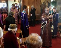 Our parish deacon, Protodeacon Paul, leads the Archbishop into the Church